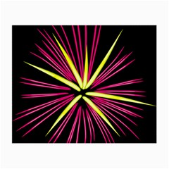 Fireworks Pink Red Yellow Black Sky Happy New Year Small Glasses Cloth (2 Side) by AnjaniArt