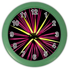 Fireworks Pink Red Yellow Black Sky Happy New Year Color Wall Clocks