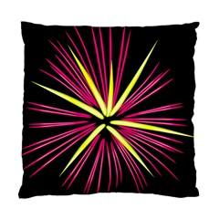 Fireworks Pink Red Yellow Black Sky Happy New Year Standard Cushion Case (two Sides)