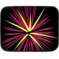 Fireworks Pink Red Yellow Black Sky Happy New Year Fleece Blanket (mini)