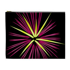 Fireworks Pink Red Yellow Black Sky Happy New Year Cosmetic Bag (xl)