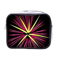Fireworks Pink Red Yellow Black Sky Happy New Year Mini Toiletries Bags