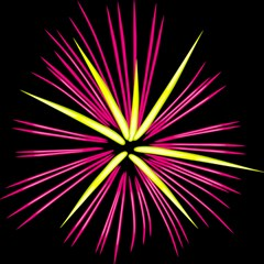 Fireworks Pink Red Yellow Black Sky Happy New Year Magic Photo Cubes