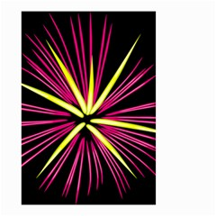Fireworks Pink Red Yellow Black Sky Happy New Year Small Garden Flag (two Sides) by AnjaniArt