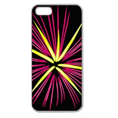 Fireworks Pink Red Yellow Black Sky Happy New Year Apple Seamless Iphone 5 Case (clear)