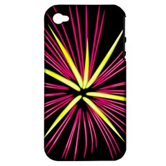 Fireworks Pink Red Yellow Black Sky Happy New Year Apple Iphone 4/4s Hardshell Case (pc+silicone)