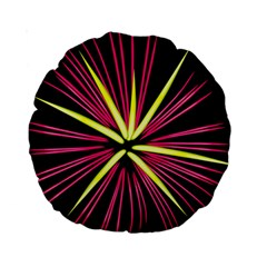 Fireworks Pink Red Yellow Black Sky Happy New Year Standard 15  Premium Round Cushions