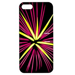 Fireworks Pink Red Yellow Black Sky Happy New Year Apple Iphone 5 Hardshell Case With Stand