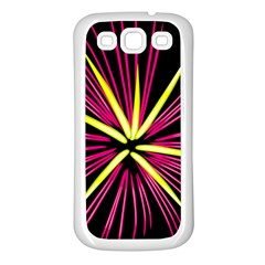 Fireworks Pink Red Yellow Black Sky Happy New Year Samsung Galaxy S3 Back Case (white)