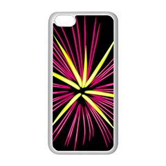 Fireworks Pink Red Yellow Black Sky Happy New Year Apple Iphone 5c Seamless Case (white) by AnjaniArt