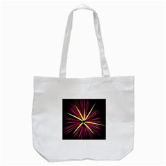 Fireworks Pink Red Yellow Black Sky Happy New Year Tote Bag (white)