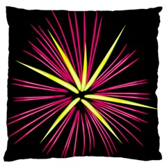 Fireworks Pink Red Yellow Black Sky Happy New Year Large Flano Cushion Case (one Side)