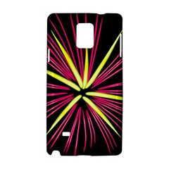 Fireworks Pink Red Yellow Black Sky Happy New Year Samsung Galaxy Note 4 Hardshell Case by AnjaniArt