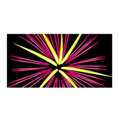 Fireworks Pink Red Yellow Black Sky Happy New Year Satin Wrap by AnjaniArt