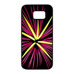 Fireworks Pink Red Yellow Black Sky Happy New Year Samsung Galaxy S7 Edge Black Seamless Case