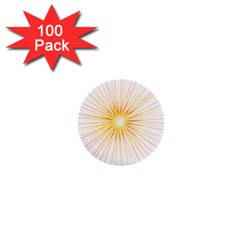 Fireworks Light Yellow Space Happy New Year Red 1  Mini Buttons (100 Pack)  by AnjaniArt