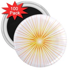 Fireworks Light Yellow Space Happy New Year Red 3  Magnets (100 Pack)