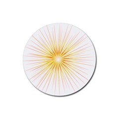 Fireworks Light Yellow Space Happy New Year Red Rubber Round Coaster (4 Pack)  by AnjaniArt