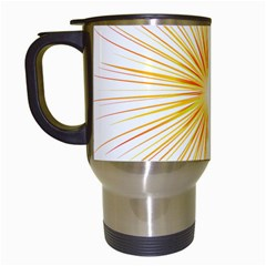Fireworks Light Yellow Space Happy New Year Red Travel Mugs (white) by AnjaniArt
