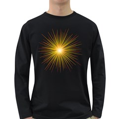 Fireworks Light Yellow Space Happy New Year Red Long Sleeve Dark T Shirts by AnjaniArt
