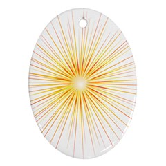 Fireworks Light Yellow Space Happy New Year Red Oval Ornament (two Sides) by AnjaniArt