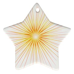 Fireworks Light Yellow Space Happy New Year Red Star Ornament (two Sides) by AnjaniArt