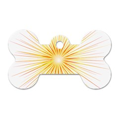 Fireworks Light Yellow Space Happy New Year Red Dog Tag Bone (two Sides)