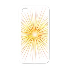 Fireworks Light Yellow Space Happy New Year Red Apple Iphone 4 Case (white) by AnjaniArt