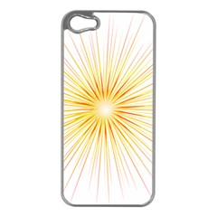 Fireworks Light Yellow Space Happy New Year Red Apple Iphone 5 Case (silver) by AnjaniArt