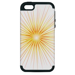 Fireworks Light Yellow Space Happy New Year Red Apple Iphone 5 Hardshell Case (pc+silicone) by AnjaniArt
