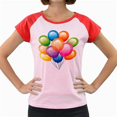Birthday Happy New Year Balloons Rainbow Women s Cap Sleeve T Shirt by AnjaniArt