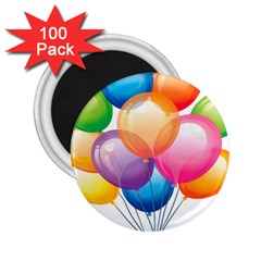 Birthday Happy New Year Balloons Rainbow 2 25  Magnets (100 Pack)  by AnjaniArt