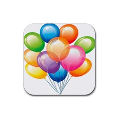 Birthday Happy New Year Balloons Rainbow Rubber Square Coaster (4 Pack)  by AnjaniArt