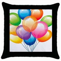 Birthday Happy New Year Balloons Rainbow Throw Pillow Case (black) by AnjaniArt