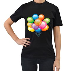 Birthday Happy New Year Balloons Rainbow Women s T Shirt (black) (two Sided) by AnjaniArt