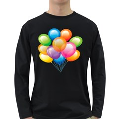Birthday Happy New Year Balloons Rainbow Long Sleeve Dark T Shirts by AnjaniArt