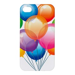 Birthday Happy New Year Balloons Rainbow Apple Iphone 4/4s Premium Hardshell Case by AnjaniArt