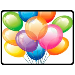 Birthday Happy New Year Balloons Rainbow Double Sided Fleece Blanket (large)