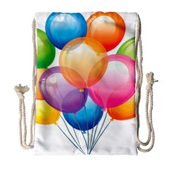 Birthday Happy New Year Balloons Rainbow Drawstring Bag (large) by AnjaniArt