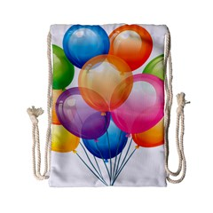 Birthday Happy New Year Balloons Rainbow Drawstring Bag (small) by AnjaniArt