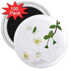 Flower Floral Sakura 3  Magnets (100 Pack)