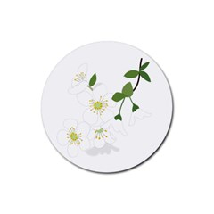 Flower Floral Sakura Rubber Round Coaster (4 Pack)  by AnjaniArt
