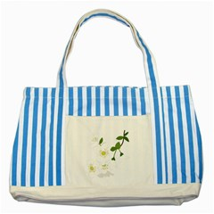 Flower Floral Sakura Striped Blue Tote Bag by AnjaniArt