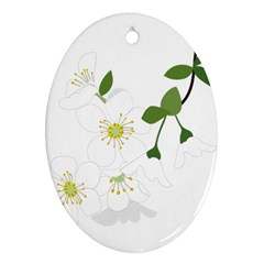 Flower Floral Sakura Oval Ornament (two Sides) by AnjaniArt