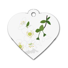 Flower Floral Sakura Dog Tag Heart (one Side) by AnjaniArt