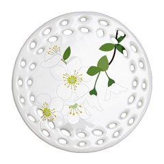 Flower Floral Sakura Ornament (round Filigree) by AnjaniArt