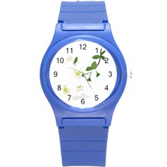 Flower Floral Sakura Round Plastic Sport Watch (s) by AnjaniArt