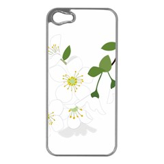 Flower Floral Sakura Apple Iphone 5 Case (silver) by AnjaniArt