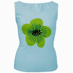 Flower Floral Green Women s Baby Blue Tank Top by AnjaniArt