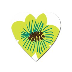 Flower Floral Green Heart Magnet by AnjaniArt